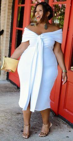 Stylish Plus-Size Fashion Ideas – Designer Fashion Tips Vestidos Plus Size, Plus Size Dresses, Plus Size Outfits, Plus Size White Outfit, Curvy Women Fashion, Look Fashion, Plus Fashion, Womens Fashion, Plus Size Fashion For Women Summer