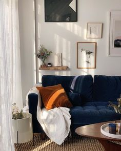 winter bouquets in winter morning light ✨ Blue And Orange Living Room, Blue Velvet Sofa Living Room, Living Room Sofa, Home Living Room, Living Room Decor, Navy Blue Sofa, Navy Couch, Royal Blue Couch, Dark Blue Couch