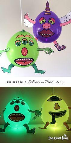 Vytvářet zábavné balonkové příšery pomocí bezplatného tiskovou šablonu.  Aby byly ve tmě obsluhovat illooms LED svítí balóny