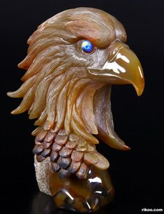 Agate Crystal Eagle Head with Labradorite Eyes