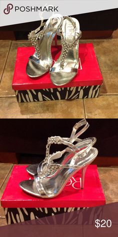 Rhinestone silver high heel Worn once excellent condition! Perfect for prom Refresh Shoes Heels