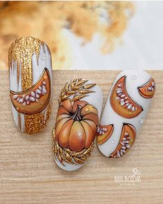 Cute Halloween Nails, Halloween Nail Designs, Fall Nail Designs, Gorgeous Nails, Love Nails, Nail Art Wheel, Diy Acrylic Nails, Nail Drawing, Nail Art Techniques