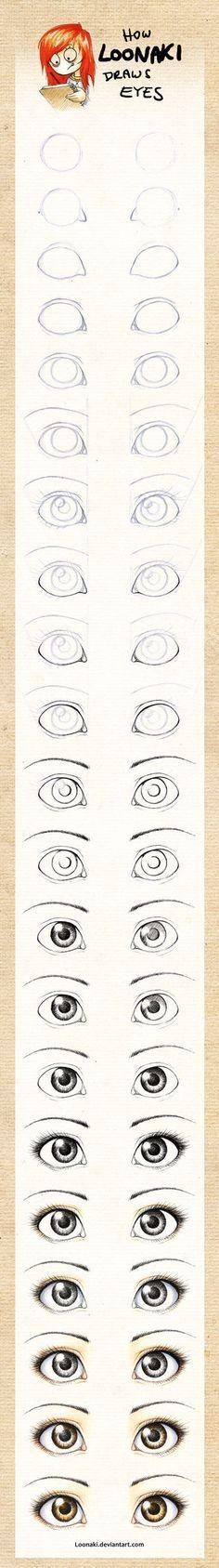 How Loonaki Draws Eyes by *Loonaki on deviantART