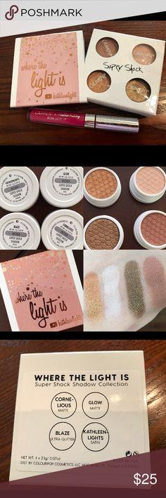 Colour Pop Bundle! Gently used ColourPop Shadow Foursome Kathleen Lights Signature Edition                Glow: matte creamy vanilla Cornelious: matte warm caramel Kathleenlights: bright golden copper Blaze: coco bronze sprinkled with multi-dimensional glitter.                                                             ColourPop Hello Kitty inspired Ultra Satin Lip in shade Lock Diary - Never used - only swatched Colourpop Makeup Eyeshadow