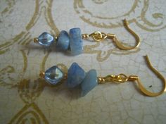 Sodalite Gemstone Earrings Gold Baby Sky Pale by chicagolandia, $9.50