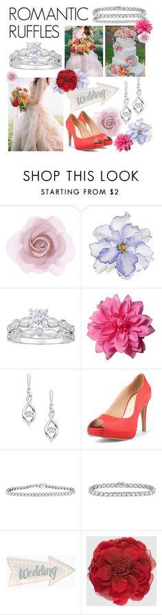 """Romantic Ruffles"" by fredmeyerjewelers ❤ liked on Polyvore featuring Accessorize, Universal Lighting and Decor, Gucci, Spring, wedding, jewelry, diamond and ruffles"
