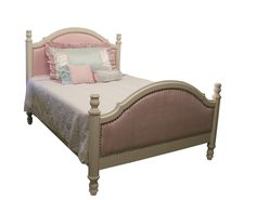 New Nantucket bed with rhinestone nailheads and pink velvet fabric. www.countrycottageusa.com