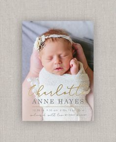 Baby Girl Birth Announcement Charlotte