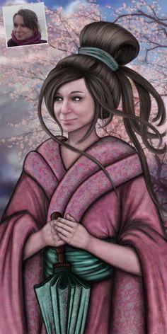 Portrait sur le thème du Japon.
