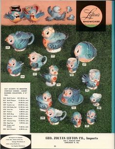 Love these vintage blue birds...check out the prices back then.