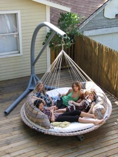 Hammock for many... Or Hammock for 2 with lots of extra room ;) I totally need one of these!