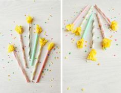 Celebrate with paper straw candles.
