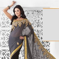 Grey and Black Faux Georgette Saree with Blouse