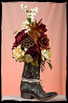 Custom Made Old Cowboy Boot Floral Arrangements