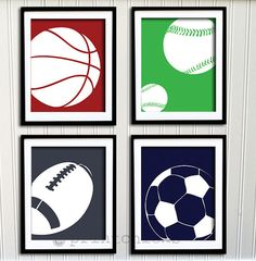 Boys Room Decor Sport Print Set Soccer Football By PrintChicks 6000