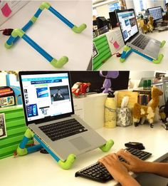 Colorful DIY PVC Pipe Laptop Stand. Bad computing posture can seriously hurt you. This colorful DIY laptop stand is a fun project that will also improve your posture. http://hative.com/fun-and-creative-diy-pvc-pipe-projects/