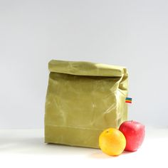 Lunch Bag Zero Waste Green Canvas Natural Food by RainbowBeeDesign