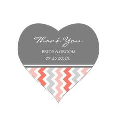 Coral Grey Chevron Thank You Wedding Favor Tags Heart Stickers