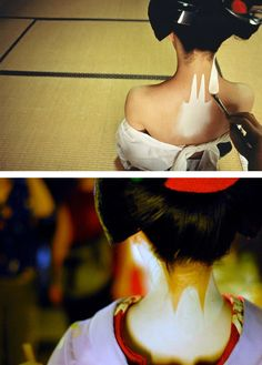 "The nape (komata) is the part of the body considered focal in Japanese eroticism. While all the face and the remaining visible part of the neck is completely painted in white, the geisha will leave a ""V"" shape unpainted to enhance the sensuality of this area. For special occasions, for instance when a maiko becomes a geisha, they leave three lines forming a ""W"" unpainted. The naked skin shown on the nape is a veiled reference to other intimate parts men would be longing to discover."