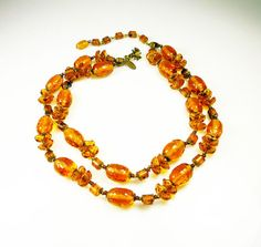 Vintage Miriam Haskell Necklace Amber Tortoise by zephyrvintage, $175.00 #vintagenecklace #vintagejewelry #miriamhaskell #amberglass #amber #tortoiseshel