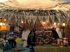 Graduation party tiki hut constructed from thatch open weave burlap and a backyard pop- & Tiki hut constructed from a backyard canopy tent authentic thatch ...
