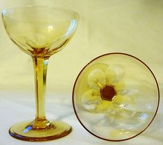 Vtg Art Glass Set of 8 Topaz Amber Cocktail Glasses w Floral Optic Bowl Detail | eBay