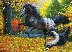 Appaloosa horse collie dog autumn fall leaves original aceo painting art #Realism Bridget Voth (Artist). Ebay ID star-filled-sky