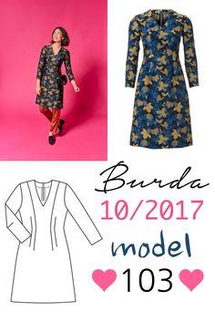 Sukienka uszyta z wykroju Burda 10/2017 model 103 Burda Patterns, Dresses With Sleeves, Model, Long Sleeve, Blog, Fashion, Moda, Sleeve Dresses