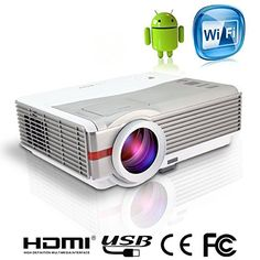 EUG X99+A HD LED Android Wifi Projector 4200 Lumen Support 1080P 1280x800 Built-in Wireless 3D USB TV VGA HDMI AV SD Audio Multimedia Home Cinema Theater Projector for Movie Game Outdoor Portable
