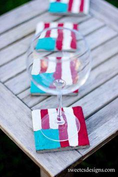 DIY home crafts DIY Flag Painted Coasters DIY home crafts