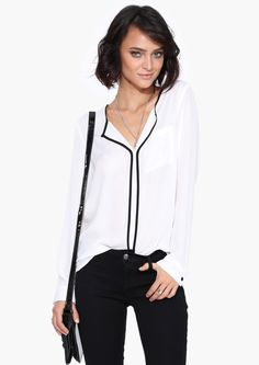 White Long Sleeve Loose Blouse 18.79