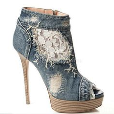 love this shoe, I would wear these myself. It is so rock-centric and I love the fact that it is denim. The white lace on the side of the shoe looks really smart, and I really like the peep toe.