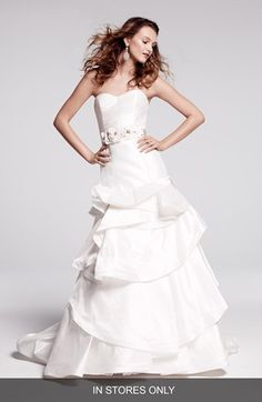 Hayley Paige 'Pearl' Embellished  Tiered Silk Shantung Dress
