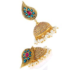 Kundan Earrings-Turquoise Pearl Embedded Paisley Jhumka at INR 4500