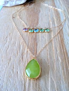 Personalized Layered Peridot Necklace,14k Birthstone Necklace,5 Birthstone Necklace, Family Necklace,Mothers Necklace, Bridesmaids,Wedding by LetItBeLove on Etsy