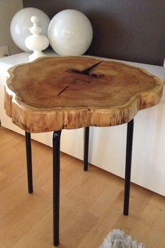 Stump End Table - Cedar Stump table with metal legs. www.serenitystumps.com