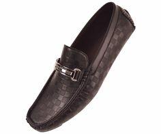Amali Mens Black Checkered Smooth Driving Shoe Style Jaden-000 #Amali #LoafersSlipOns