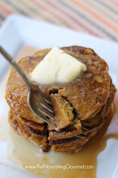 "Healthy recipe: Whole Wheat Spiced Pumpkin Pancakes with Apple Cider Syrup: This delicious combination of spiced pumpkin pancakes and a homemade apple cider syrup is the perfect fall and winter breakfast! Plus, they are made with healthy whole wheat (and made using the ""soaking"" method). - The Nourishing Gourmet"