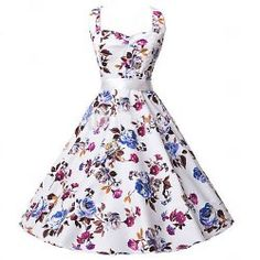 Retro Style Halter Flower Print Sleeveless Dress For Women