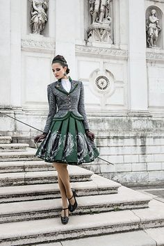 Classy green dirndl with matching blazer Dirndl Dress, Dress Skirt, Dress Up, Modern Fashion, High Fashion, Vintage Fashion, Womens Fashion, Retro Mode, German Fashion