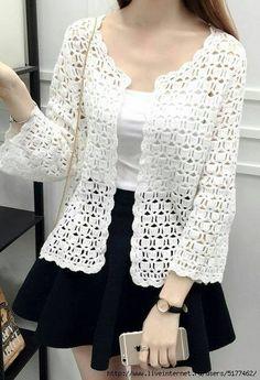 Fabulous Crochet a Little Black Crochet Dress Ideas. Georgeous Crochet a Little Black Crochet Dress Ideas. Gilet Crochet, Black Crochet Dress, Crochet Coat, Crochet Cardigan Pattern, Crochet Blouse, Crochet Clothes, Shrug Pattern, Blog Crochet, Freeform Crochet