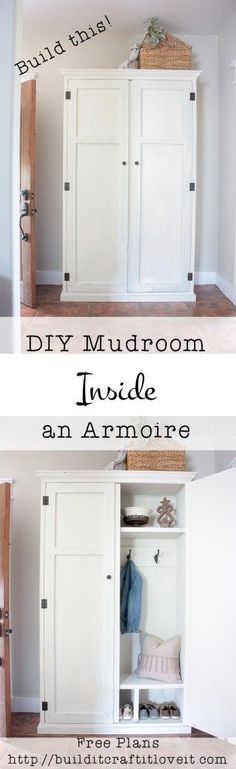 DIY mudroom in an armoire! Close the doors and hide the mess!