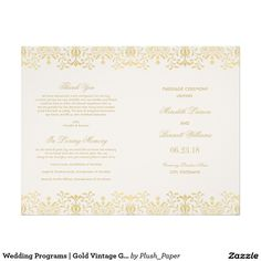 "Wedding Programs | Gold Vintage Glamour 8.5"" X 11"" Flyer"