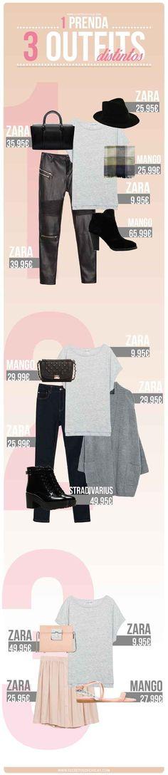Y si las camisas blancas no son de tu gusto, aquí hay unas opciones para combinar una playera gris.