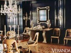 Black dining room by Albert Hadley from 1990 is still oh so. (The Foo Dog Ate My Homework) Albert Hadley, Black Rooms, American Interior, Dark Walls, Interior Decorating, Interior Design, Elegant Dining, Beautiful Interiors, Black Interiors