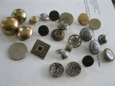 Lot of 24 Vintage Metal Buttons Assortment Dome Cut Out Square Gold Brass Pewter