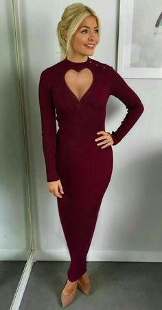 Holly Willoughby wearing a long maroon Sheath dress with heart shaped front opening Source by stmarkymark outfits Holly Willoughby Bikini, Holly Willoughby Legs, Holly Willoughby Outfits, Brighton, Sexy Outfits, Fashion Outfits, Hobble Skirt, Smart Outfit, Evening Outfits