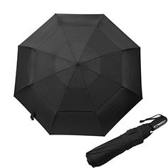 Runbox Auto OpenClose Umbrella  Extra Large Vented Double Canopy Windproof Classic Black Compact Travel Umbrella for men and women Black ** You can get more details by clicking on the image. (Note:Amazon affiliate link)