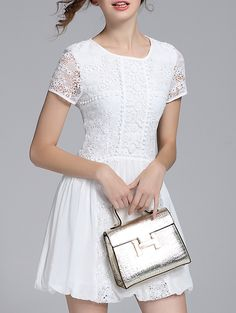 Buy it now. White Crochet Hollow Out A-Line Dress. White Round Neck Short Sleeve Polyester A Line Short Plain Fabric has no stretch Summer Casual Day Dresses. , vestidoinformal, casual, camiseta, playeros, informales, túnica, estilocamiseta, camisola, vestidodealgodón, vestidosdealgodón, verano, informal, playa, playero, capa, capas, vestidobabydoll, camisole, túnica, shift, pleat, pleated, drape, t-shape, daisy, foldedshoulder, summer, loosefit, tunictop, swing, day, offtheshoulder, smoc...
