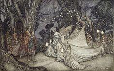 The Meeting of Oberon and Titania, 1908 (Christie's Images / Bridgeman Images).  Artist: Arthur Rackham (1867-1939).  Fairy art